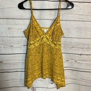 Banana Republic Yellow Silk Printed Camisole